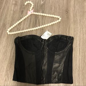 🆕 H&M Strapless Bustier Leather Top NWT